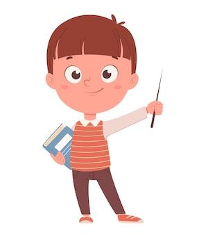 Обратно в школу концепции веселый школьник держит указатель и книжный забавный мультяшный персонаж