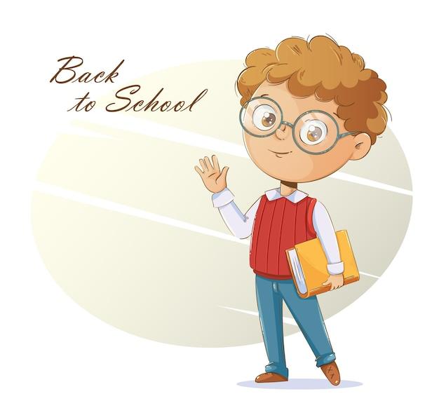 Обратно в школу концепции веселый школьник с книгой милый мультипликационный персонаж