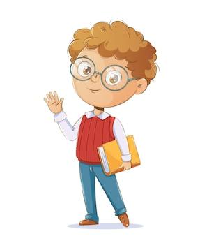 Снова в школу концепции веселый школьник с книгой милый мультипликационный персонаж
