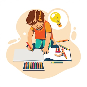 학교 개념으로 돌아 가기 컬러 연필 드로잉 아이