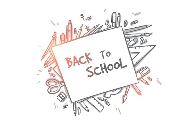 Снова в школу концепции. ручной обращается вид сверху школьных принадлежностей. школьные принадлежности, ножницы, книги, линейка, карандаши изолированные