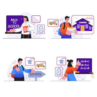 学校に戻るコンセプトシーンは、10代の少年と少女が本を持って教室の生徒で勉強するように設定します