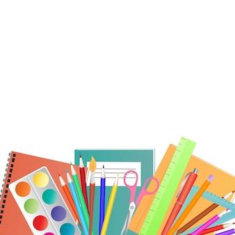 학교 개념으로 돌아가기. 어린이 창의력을 위해 설정합니다.