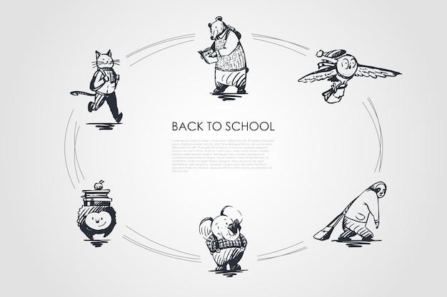 学校に戻るコンセプトセットイラスト