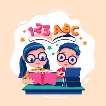 학교 개념으로 돌아 가기 그녀의 방에서 책과 태블릿을 읽고 똑똑한 아이