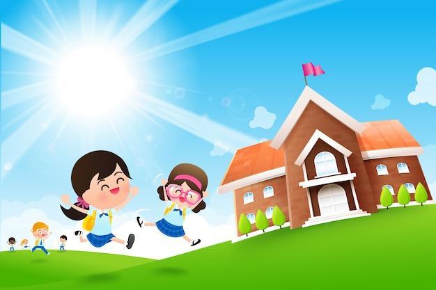 学校の概念に戻る学生の子供たちはジャンプして実行している