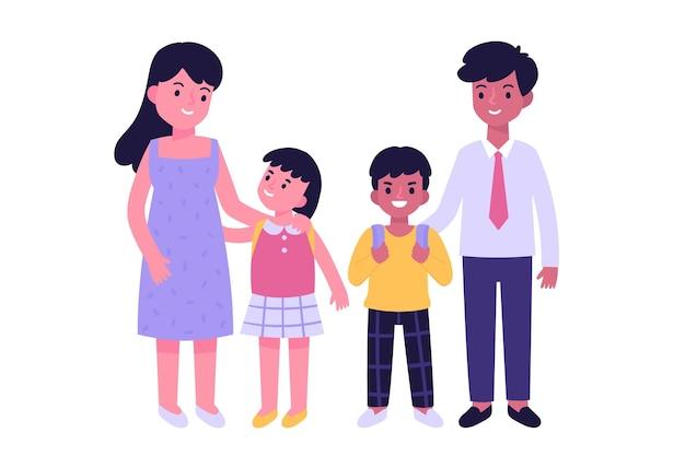 가족과 함께 학교 개념으로 돌아 가기