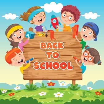 面白い子供たちと学校のコンセプトに戻る