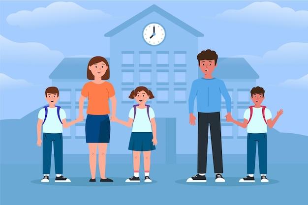 부모와 함께 학교 개념으로 돌아 가기