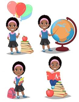 Обратно в школу. симпатичная афроамериканская девушка