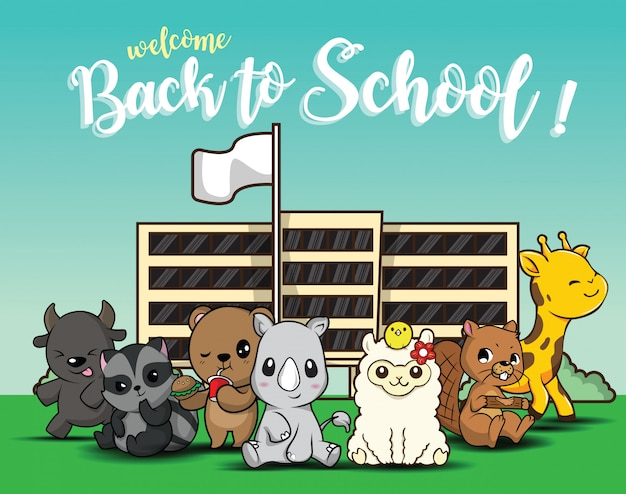 Снова в школу., милый мультфильм животных.