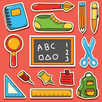 학교로 돌아가기 귀여운 만화 손으로 그린 낙서 아이콘 스티커