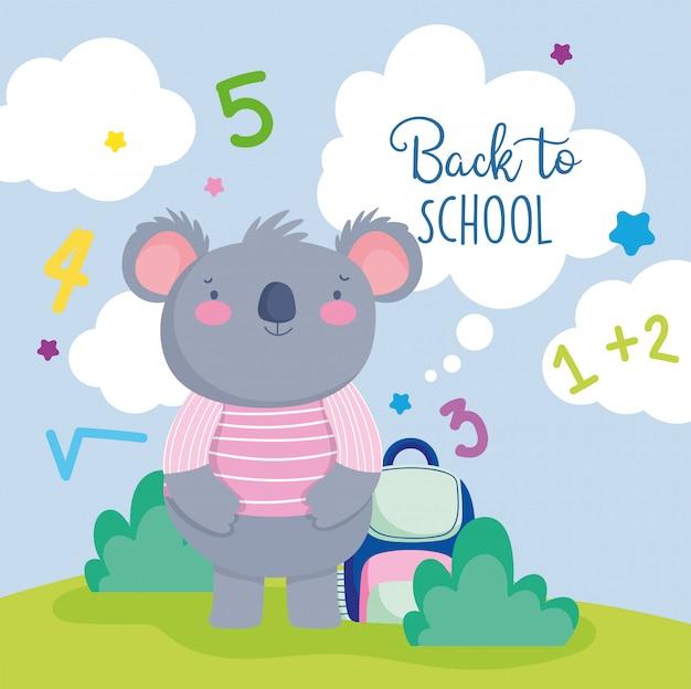 Снова в школу симпатичная коала с свитером и рюкзаком. Premium векторы