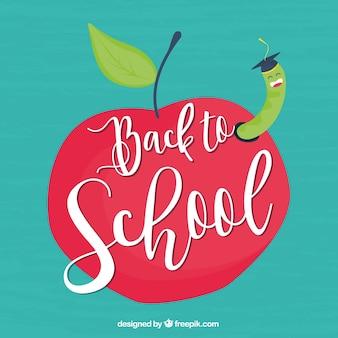 Назад к школьному дизайну с яблоком и червем