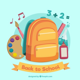 배낭과 학교 물건으로 학교 디자인으로 돌아 가기