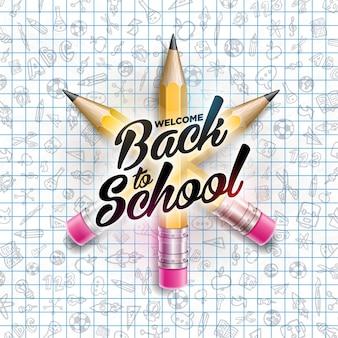 정사각형 격자 책자 배경에 다채로운 연필과 타이포그래피 문자로 학교 디자인으로 돌아 가기