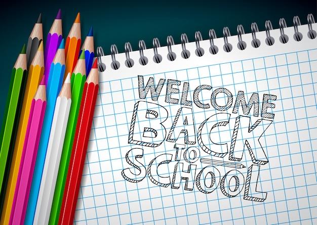 사각형 격자 책자 배경에 다채로운 연필과 타이포그래피 문자로 학교 디자인으로 돌아 가기