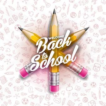 Назад к школьному дизайну с графитовыми карандашами