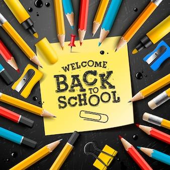 연필과 스티커 메모로 학교 디자인으로 돌아갑니다. 인사말 카드, 배너, 전단지, 초대장 게시물, 핀, 공급 및 핸드 레터링으로 그림.