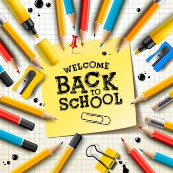Снова в школу дизайн с карандашами и липкими заметками. иллюстрация с вывешиванием, красной булавкой, расходными материалами и ручной надписью для поздравительной открытки, баннера, флаера, приглашения.