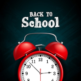 Back to school design with red alarm clock