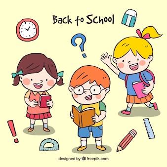 세 명의 행복한 학교 아이들과 함께 학교 디자인으로 돌아 가기