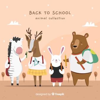 学校に戻る詳細な動物のコレクション