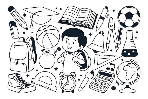 学校に戻る落書きイラスト