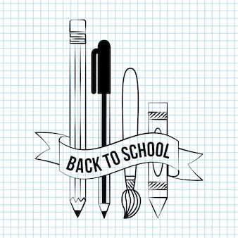 Обратно в школу каракули школьные элементы вещи, чтобы написать на бумаге тетради иллюстрации