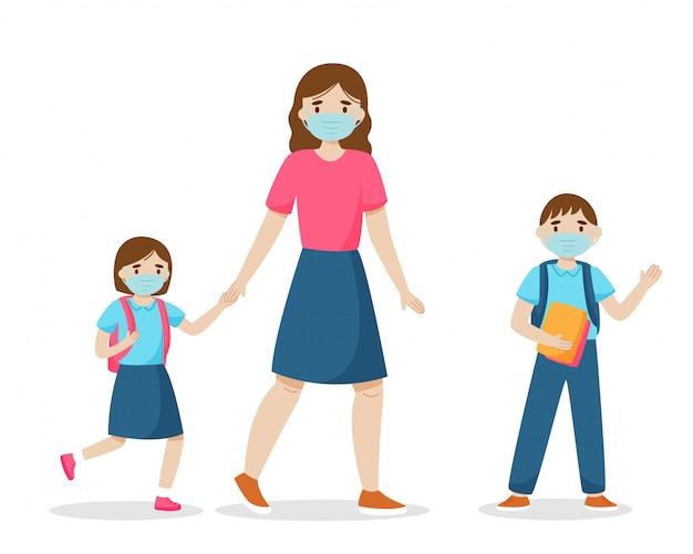 コロナウイルス検疫の概念の間に学校に戻る。母は子供を学校に連れて行きます。生理用マスクを身に着けている家族。白い背景で隔離されました。