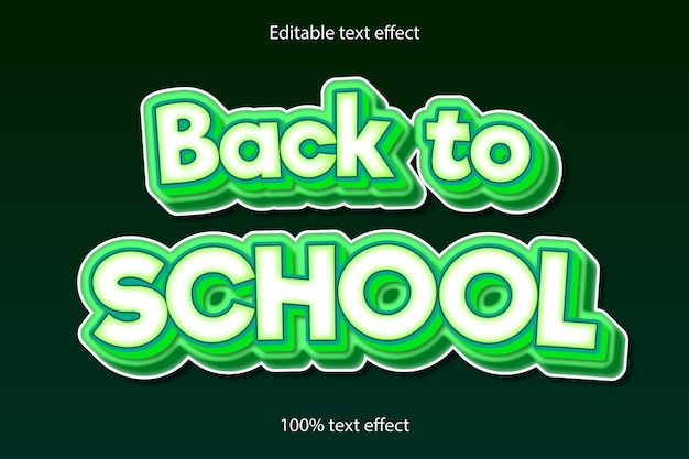 Снова в школу редактируемый текстовый эффект мультяшном стиле