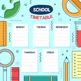 学校に戻るフラットなデザインのタイムテーブル