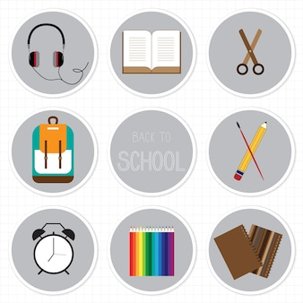Back to school flat design with education icon set.