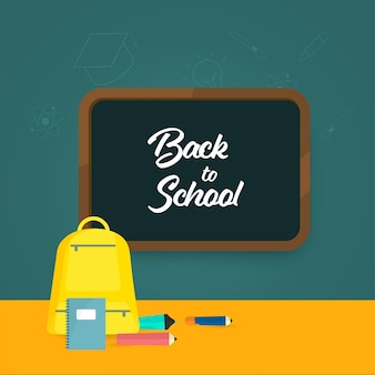 Назад к школьному шрифту на доске с элементами снабжения на оранжевом и зеленом фоне.