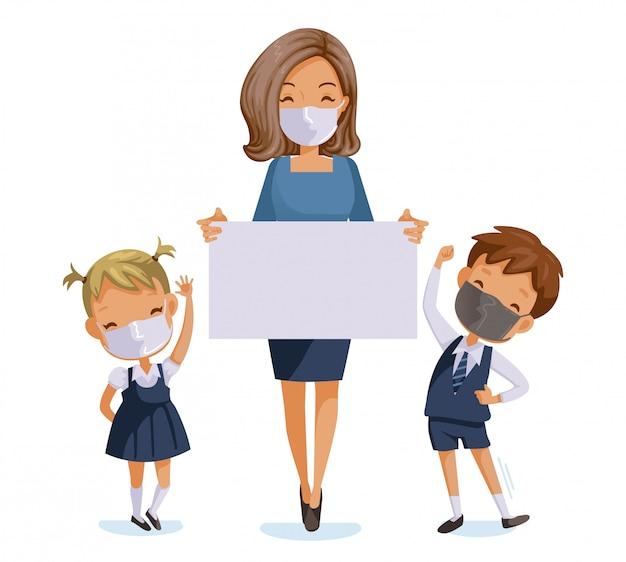 新しい通常のコンセプトのために学校に戻る。衛生マスクを身に着けている子供と教師。