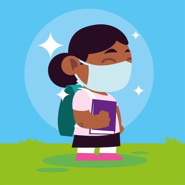 マスクの本とバックパックのイラストを持った新しい普通のかわいい女の子の学生のために学校に戻る