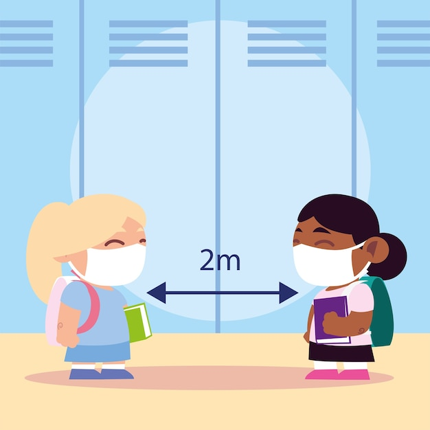 Снова в школу для новых нормальных, милых маленьких девочек в медицинской маске, держите иллюстрацию социальной дистанции