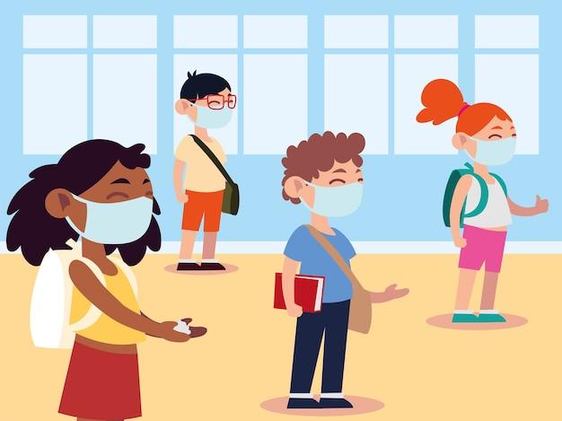 新しい通常の学校に戻って、教室のグループの学生は物理的な距離のイラストを保持します