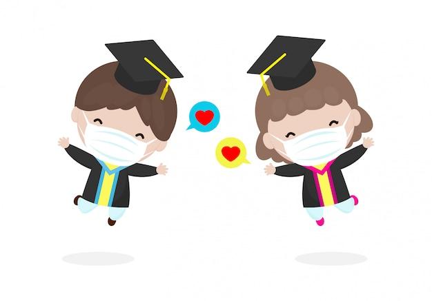 Обратно в школу для новой концепции нормального образа жизни. выпускные дети носят маску для предотвращения коронавируса 2019 года или covid-19, счастливые ребята прыгают, выпускники в платьях с дипломом вектор
