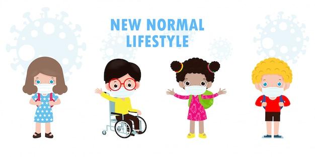Снова в школу для новой концепции нормального образа жизни, счастливый мальчик-инвалид в инвалидной коляске и его друзья в маске защищают плакат coronavirus covid-19 на белом фоне иллюстрации