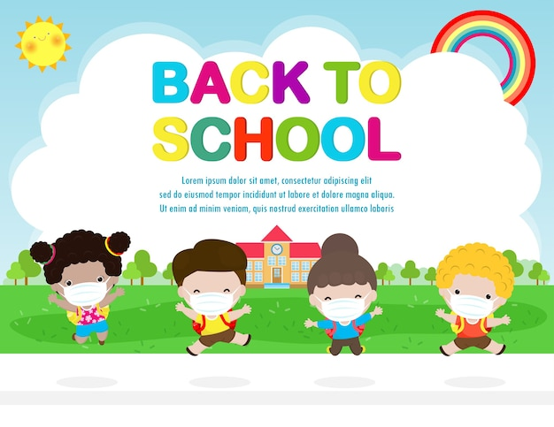 Снова в школу для новой концепции нормального образа жизни. счастливая группа детей, прыгающих в маске и социальном дистанцировании, защищают коронавирус covid 19, дети и друзья ходят в школу изолированно на заднем плане