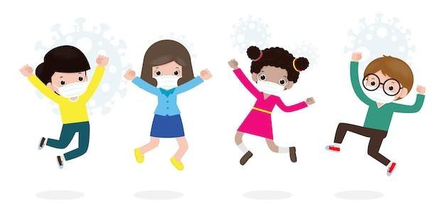 새로운 정상적인 라이프 스타일 개념을 위해 학교로 돌아갑니다. 얼굴 마스크를 착용 점프 행복 한 아이 코로나 바이러스 또는 covid 19를 보호, 어린이와 친구의 그룹은 흰색 배경 벡터에 고립 된 학교로 이동