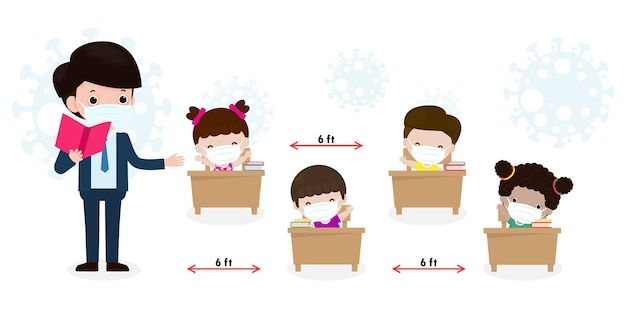 新しい通常のライフスタイルのコンセプトのために学校に戻る。幸せな学生の子供たちとフェイスマスクを着ている先生はコロナウイルスを保護するか、分離された教室のベクトルで机の上に座っているcovid 19社会的距離