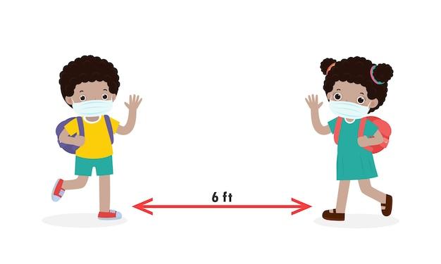 新しい通常のライフスタイルの概念のために学校に戻る子供たちとの社会的距離黒