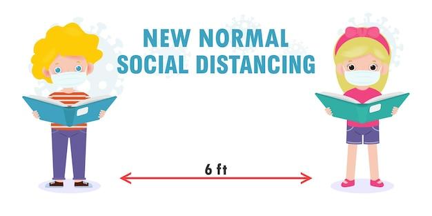 新しい通常のライフスタイルの概念、社会的距離のために学校に戻る