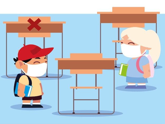 新しい普通の学校に戻って、教室の小さな生徒は物理的な距離のイラストを保持します