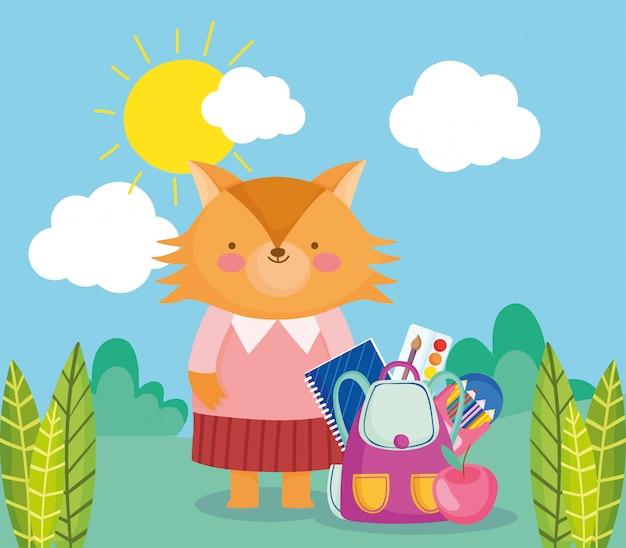Обратно в школу, лиса с рюкзаком поставляет мультфильм