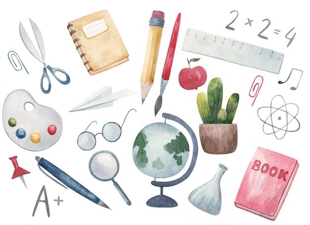 Обратно в школу. рисованной фон с школьных принадлежностей и творческих элементов. палитра, книга, блокнот, ручка, карандаш, кисть, очки, акварель иллюстрации