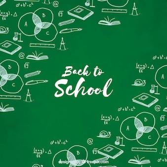 学校に戻って、手描きの緑色の背景