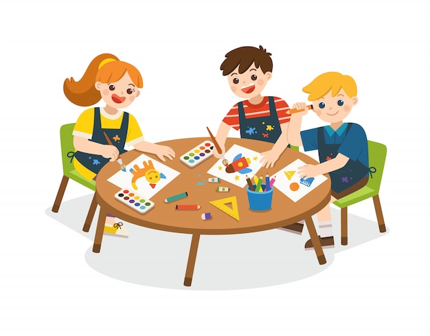 Обратно в школу. счастливые дети живопись и рисунок на бумаге. милые мальчики и девочки весело вместе. дети смотрят с интересом. арт дети.